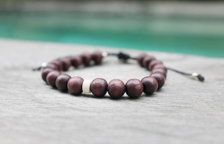 Men's adjustable Wooden Brown Bracelet with Howlite Minerale Stone, Mens woo…  – Smth for him