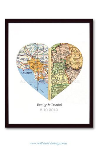 Maps from two hometowns put together! So cute!
