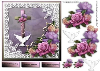 Sympathy 2 on Craftsuprint designed by Marijke Kok - beautiful card for a sad occasion,with gorgeous roses and lace... - Now available for download!