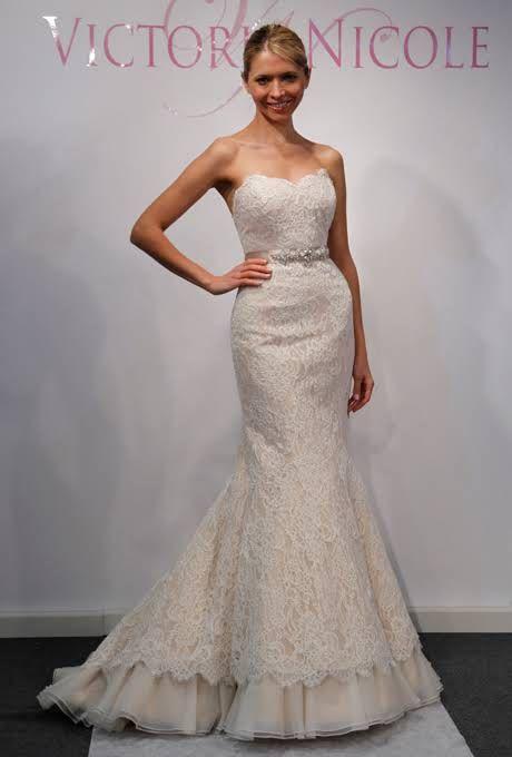 Strapless Blush Lace Mermaid Gown Victoria Nicole Wedding Dress Spring 2013