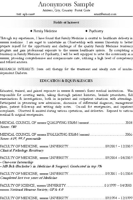 excellent resume or cv for medical resident residency fm family medicine psychiatry