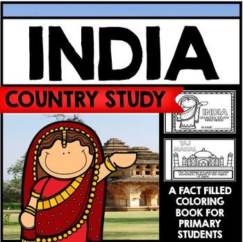 """This  26 Page """"All About India"""" country study mini booklet project  is perfect your upcoming India unit, lesson, multicultural study, cultural fair, or country study. Full of information about India, this fun coloring book includes information about India written in engaging informational text that is perfect for the lower elementary grades."""