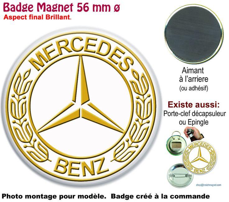 BADGE 56 mm MERCEDES LOGO, EFFET OR. AUTO. MAGNET, PORTE-CLE, ÉPINGLE