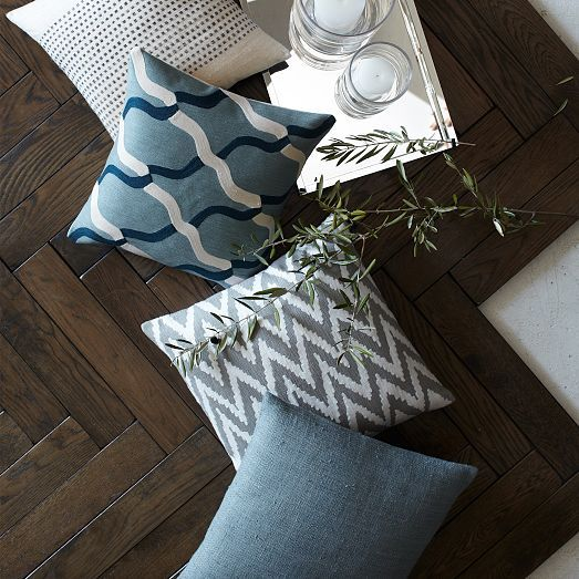 Solid Silk Hand-Loomed Pillow Cover - Blue Lagoon | west elm