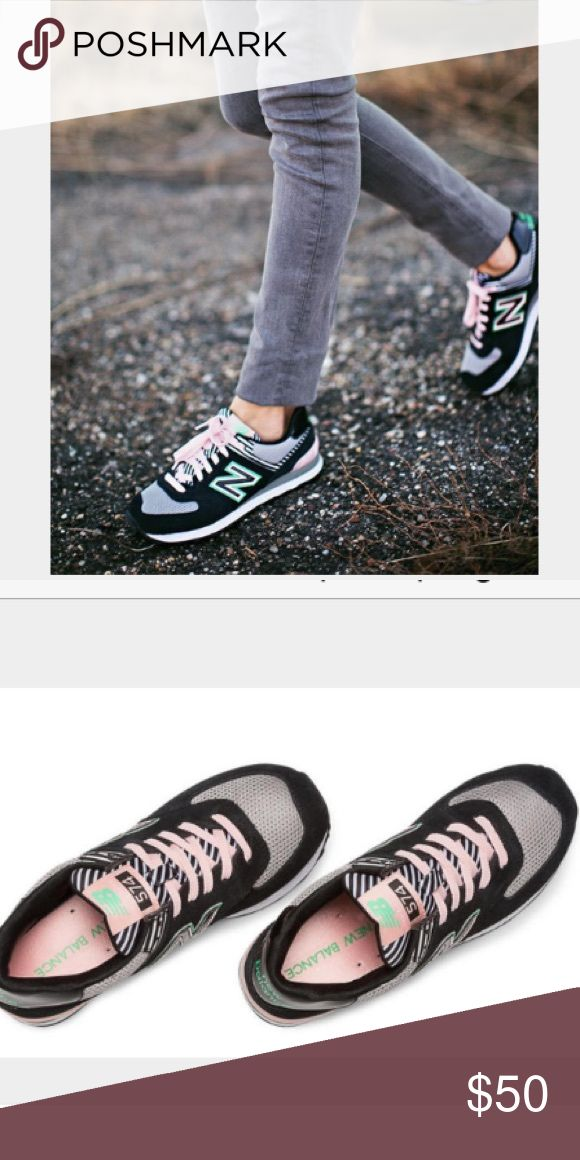 New Balance 574 Palm Springs Limited Edition Rare and limited edition 574's- worn once and in perfect condition! Black, white and gray with hints of pink and green make this shoe a great addition to any closet. Comes from a pet free smoke free home. New Balance Shoes Sneakers