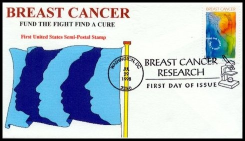 This beautiful Therome Cachet was created by Tom Peluso from West Hempstead NY and is number 5 of 30.  The beautiful images of the faces on this flag bring to my mind all the people affected by this horrible disease.  Breast Cancer is very devastating, not only to the patient, but also to her friends and family.