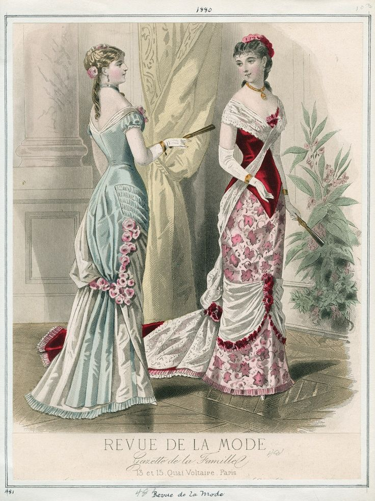 1880. beautiful evening dresses, Revue de la Mode