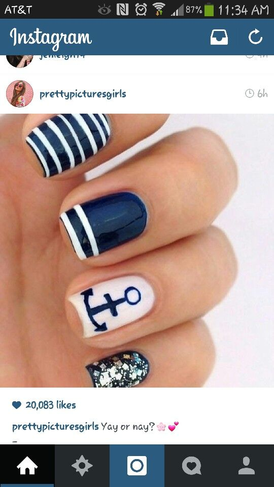 Nautical nails, blue and white, anchor, manicure