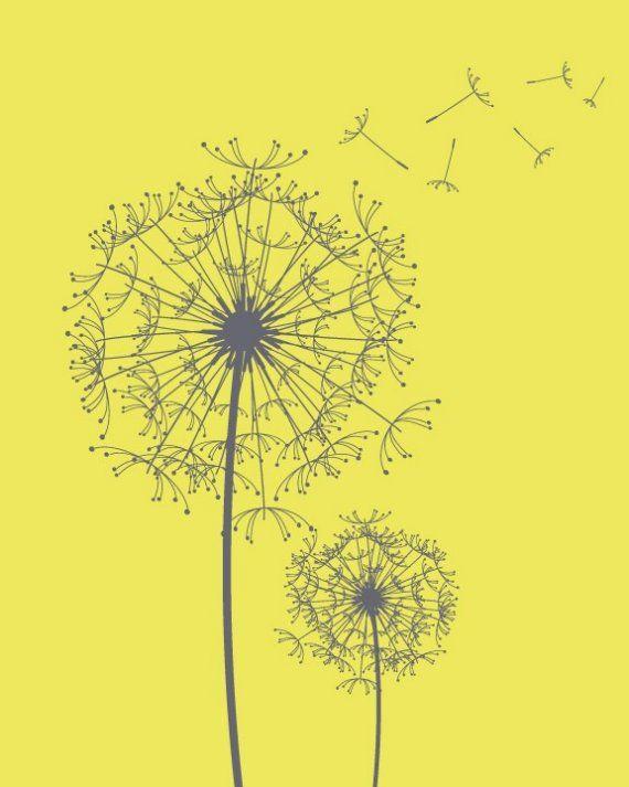 Modern Dandelions print, Custom Modern Flower wall art prints, Yellow and Grey or your custom colors