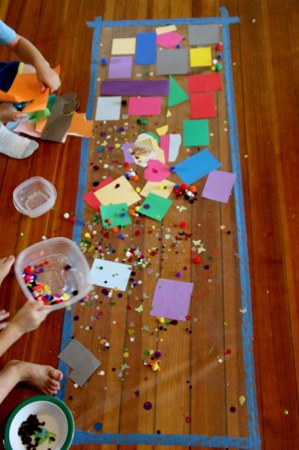 A very simple sensory art activity for toddlers and young kids to make using contact paper that will keep them busy for hours at a time.
