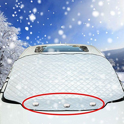 VIVVAUTO Magnetic Car Windshield Cover for Ice and Snow / 3 Magnets Most Secure Fitting and Easiest Installation / Waterproof, Soft Scratch-Free, Padded Liner - Protects Wiper Blades with 2018 Design - Get the windshield cover against Ice and Snow. And never scrape again in winter. Say goodbye to weather delay on your daily drive. VIVVAUTO Magnetic Car Windshield Cover for Ice and Snow is made for winter driving.  Soft Fabric will not scratch your's paint Wat...