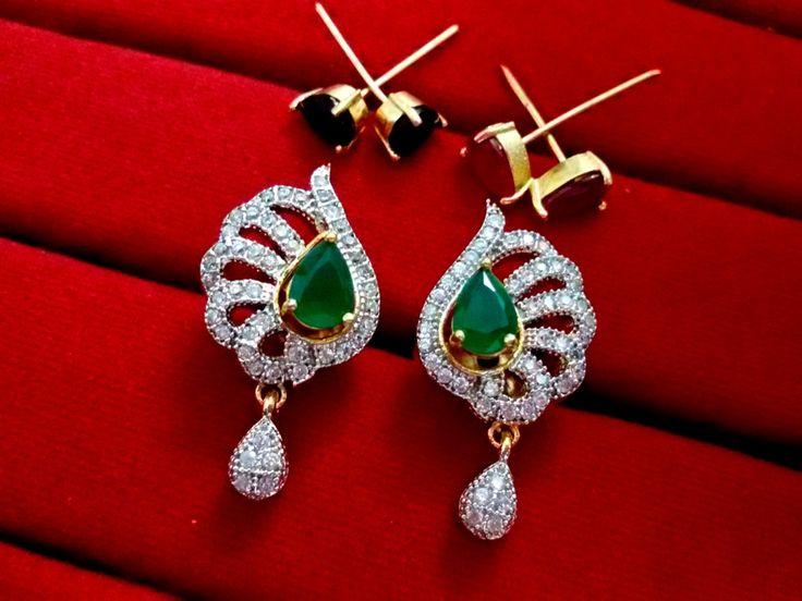 Daphne Six in One Changeable AD Earrings for Women - Emerald