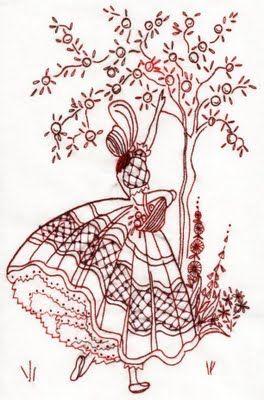 redwork lady...