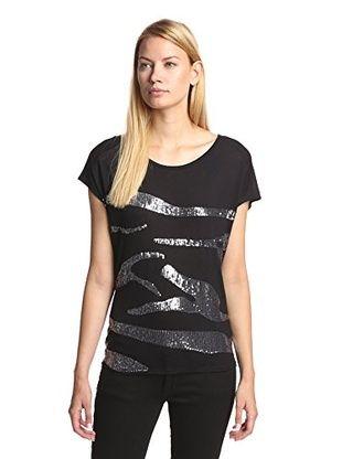 34% OFF Jaden Women's Sequin Stripe Top (Black)