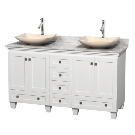 Digital Art Gallery Wyndham Collection Acclaim inch Double Bathroom Vanity in White White Carrera Marble Countertop