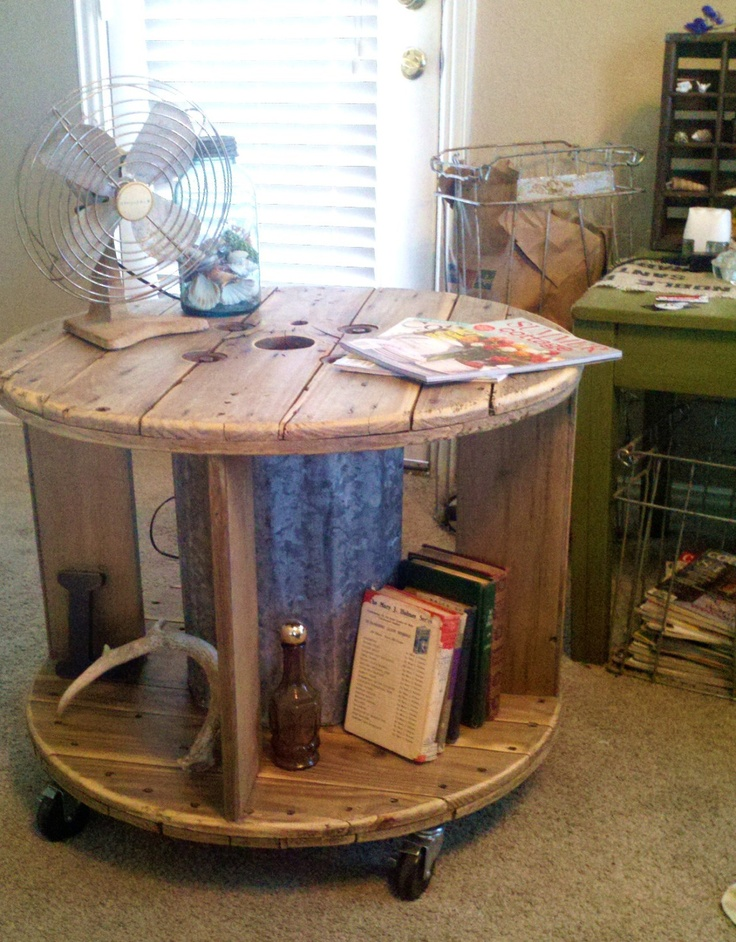 Repurposed Spool Industrial Rustic Coffee Table Or End Table With Casters Via Etsy