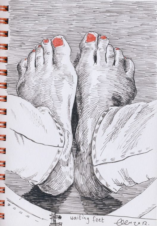 """OBSERVATIONAL DRAWING in ink. The """"birds eye view"""" is a real attention grabber and the painted toenails add a bit of whimsy to this drawing."""