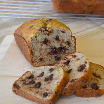 Quick banana bread is an old-fashioned favorite updated with the addition of chocolate chips.