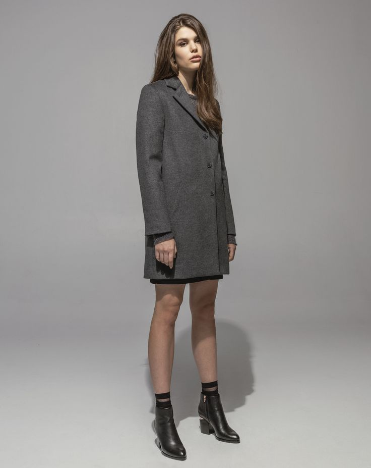 Lambswool Girlfriend Coat (Grey Marle) Metallic Mohair Sweater (Amethyst) 5 Pocket Stretch Denim Skirt (Indigo)