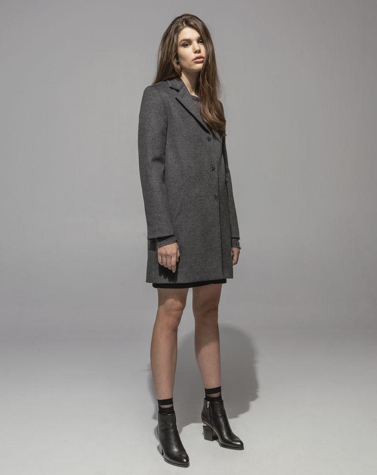 Lambswool Girlfriend Coat (Grey Marle) Metallic Mohair Sweater (Amethyst) 5 Pocket Stretch Denim Skirt (Indigo)