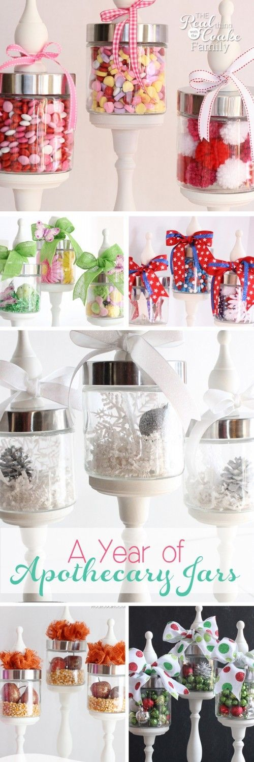 Love these Decorating Ideas of using DIY Apothecary jars throughout the whole year for every season and holiday. Great ideas christmas home party and gift crafts!
