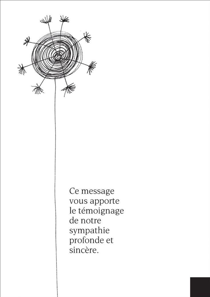 Carte de voeux: Moderne carte de deuil réconfortant avec une fleur graphique: Ce message vous apporte le témoignage de notre sympathie profonde et sincère.: Amazon.fr: Cuisine & Maison