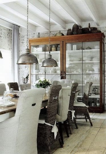 That cabinet is AWESOME!!!Dining Rooms, China Cabinets, Interiors, Dining Chairs, Industrial Lights, Diningroom, Industrial Chic, Display Cases, Pendants Lights