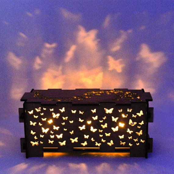Butterfly wood night light box lamp trinket storage by dirtbyearth, $89.00: Storage Boxes, Trinket Boxes, Trav'Lin Lights, Night Lights, Teas Lights, Butterflies Wood, Wooden Boxes, Boxes Lamps, Lights Boxes
