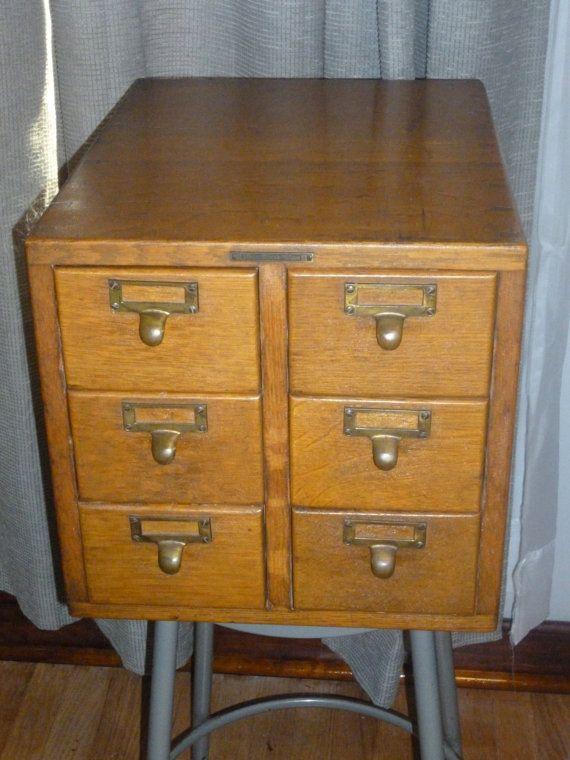 antique library bureau sole makers 6 drawer oak file cabinet card catalog 3 5 x 5 card size. Black Bedroom Furniture Sets. Home Design Ideas