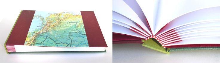 Cuadernos a pedido de Silvia hacia Santa Rosa de La Pampa Cuaderno Mundo Multicolor/Diario de viajeItalia/Álbum Colombia Álbum Colombia: Encuadernación tapas montadas - cubierta de mapa y tela ...