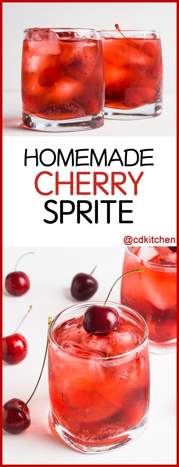 Copycat Cherry Sprite - Like a Shirley Temple but with Sprite instead of ginger ale. Grenadine and maraschino cherry juice are all you need; a splash of vodka turns it into a super simple cocktail. | CDKitchen.com #cocktailrecipes