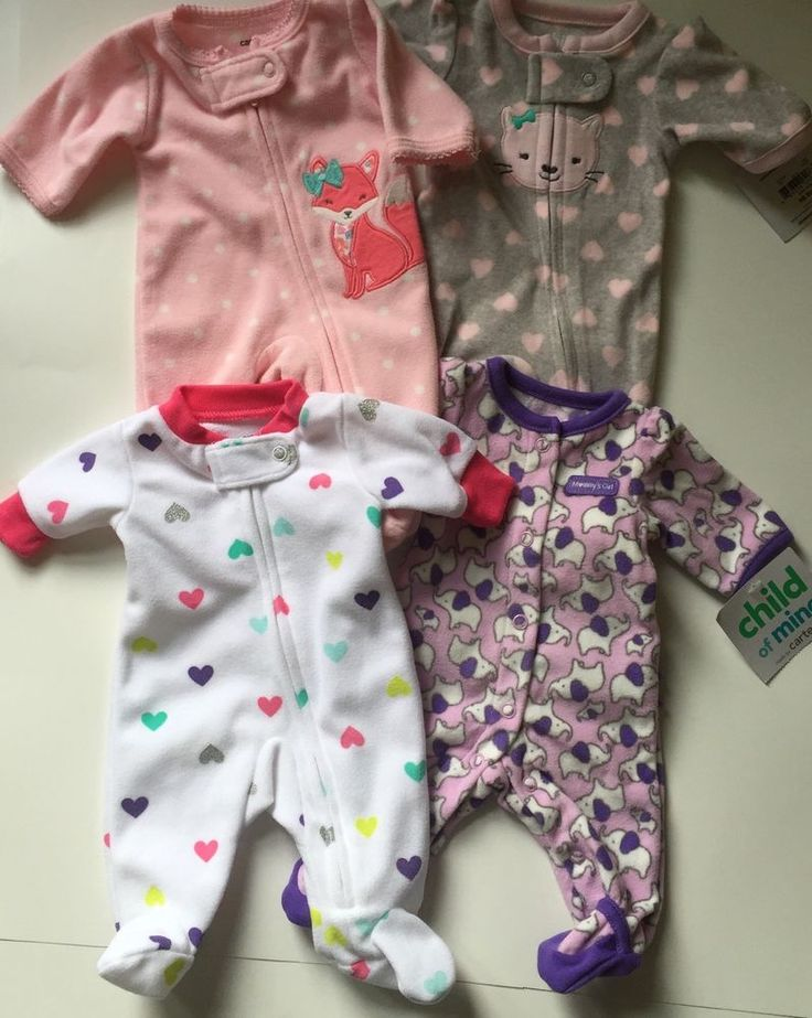 Lot of 4 Preemie Girl Fleece One-Piece Sleepers Child of Mine Carters size P #ChildofMine #OnePiece