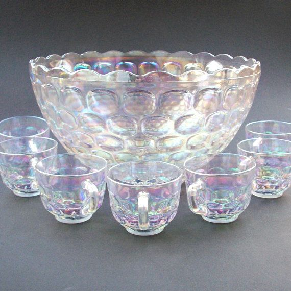 SALE! Vintage Jubilee Federal Glass Iridescent Luminous Punch Bowl Set - Thumbprint Design - Seven Cups