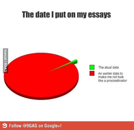 The date I put on my essays is actually earlier because...