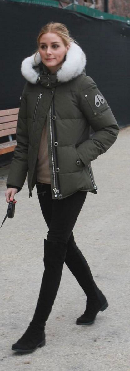 Who made  Olivia Palermo's green coat and black thigh high boots? Moose Kuckles parker