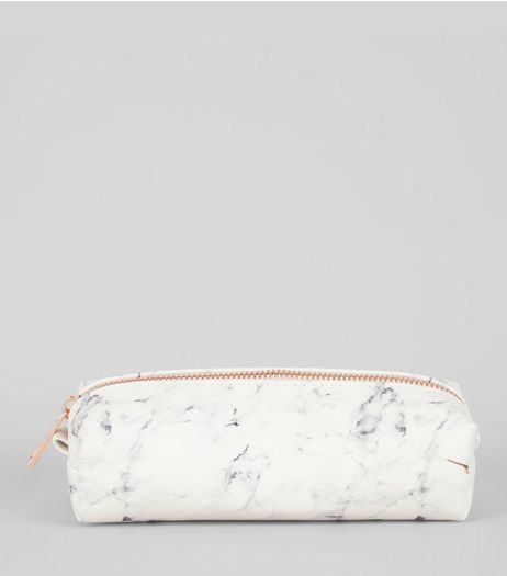 White Marble Pencil Case | New Look