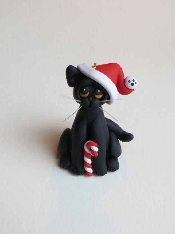 Polymer Clay Christmas Ornaments | Christmas Ornament Polymer Clay Black Cat by HeartOfClayGirl