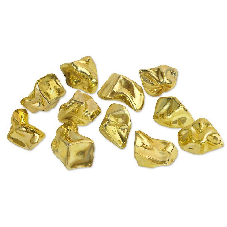 Pose med store og flotte guldklumper i plastik fra Sjovogkreativ.dk som er perfekte som tilbehør til pirat fødselsdag, cowboy temafest og meget mere.