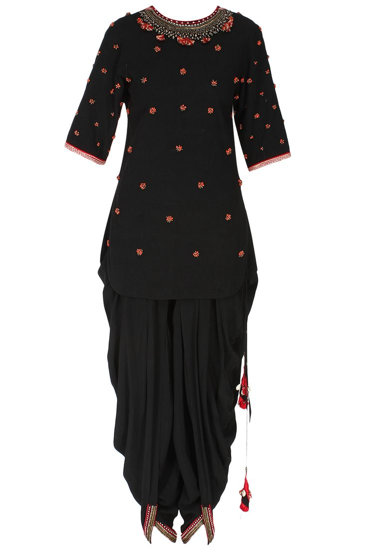 Black peppercorn embroidered backless kurta with jodhpuri pants available only at Pernia's Pop Up Shop.