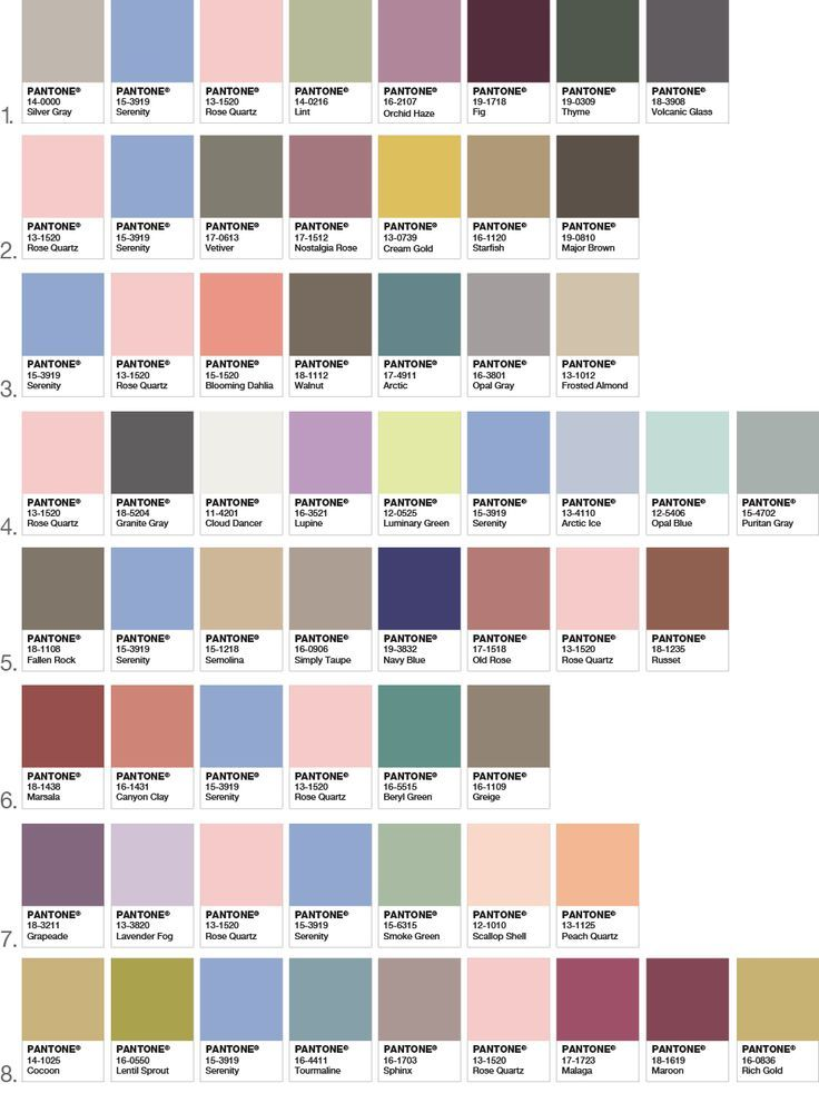 Color Inspiration for your home decor! Color palettes that co-ordinate with Pantone's Colors of the Year 2016 Rose Quartz and Serenity! www.settingforfou...