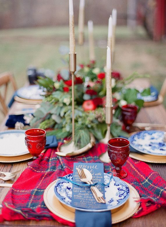 Gorgeous Red and Blue Holiday Tablescape