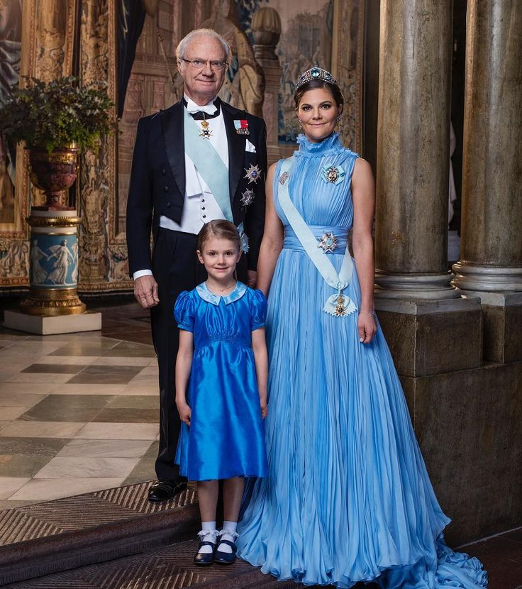 Two official photographs have been released by the Swedish Royal Court in celebration of the 200th anniversary of the first Bernadotte king. Pictured here are three generations of Bernadottes. King Carl Gustaf, Crown Princess Victoria, and Princess Estelle