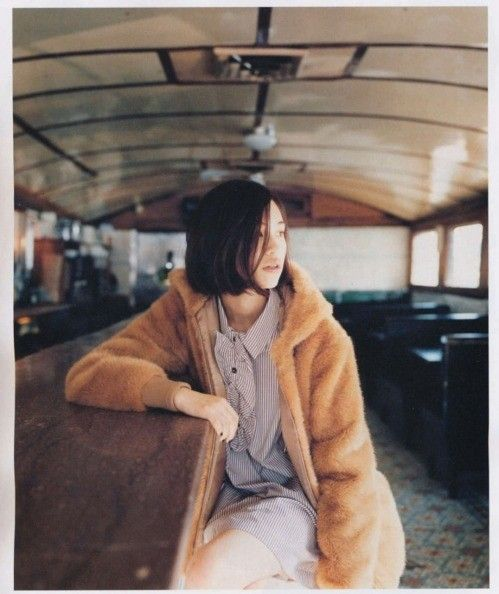 margot tenanbaum style, fur coat, jacket, winter, spring, fall, buttoned up, collared, striped, bob haircut, schoolgirl style, shirt dress from: FuzzyFindings
