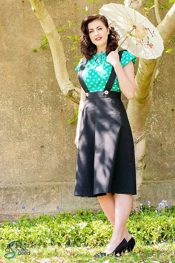 black pinafore skirt new model  from vintage by TheBlackPinafore, $84.00