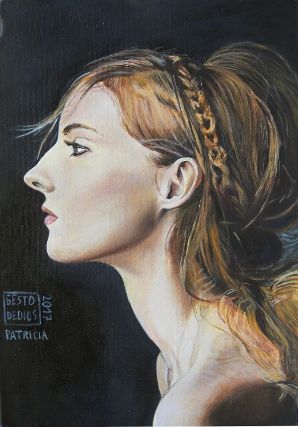 Retrato de mujer al óleo. Patricia, 2017 - Óleo sobre lienzo, 16,1 x 24 cm  Patricia, 2017 - Oil on canvas -  Patricia, 2017 - Huile sur toile. #gestodedios