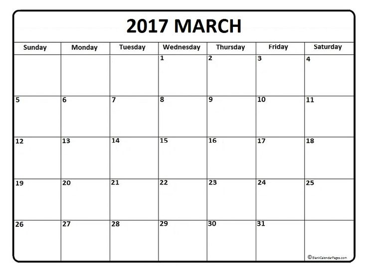 March calendar 2017 printable and free blank calendar Printable - payroll calendar template