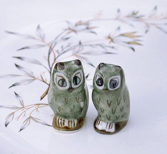 Owl figurines Vintage Miniature Porcelain by VoilaVintageMarket, $16.00