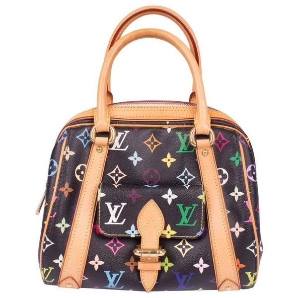 Preowned Louis Vuitton Monogram Multicolor Priscilla Bag - Black ($882) ❤ liked on Polyvore featuring bags, black, top handle bags, top handle leather handbags, leather bags, zipper bag, louis vuitton and monogram leather bag