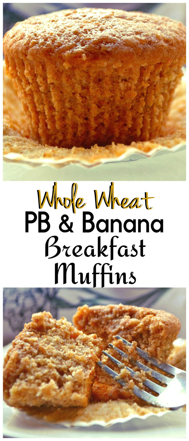 Healthy Breakfast & Snack Muffins | Made with whole wheat flour, bananas, peanut butter & honey | Filling, delicious & nutritious muffins | www.craftycookingmama.com