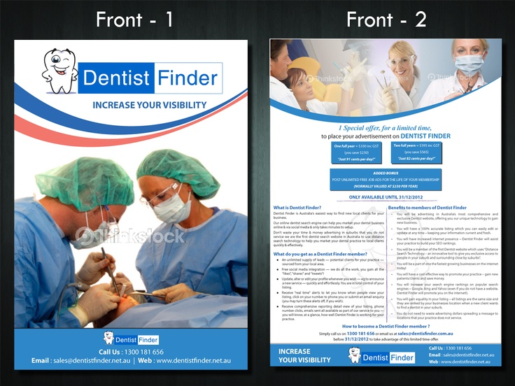 Check out some flyer designs for dentist finder